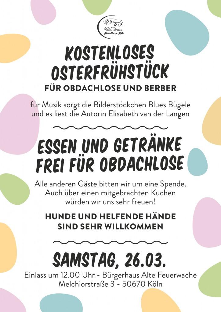 kostenloses Osterfrühstück für Obdachlose und Berber